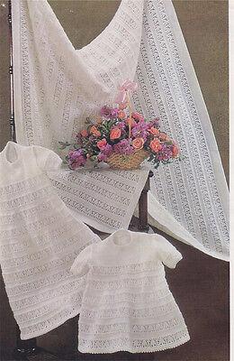 Beautiful 3 ply baby shawl, christening robe & dress, knitting pattern- Vintage