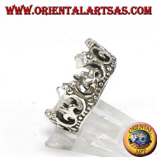 Anello in argento 925 corona della regina con giglio