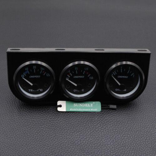 "2/"" Triple Gauge Kit 3in1 Water Temp Meter Oil Temperature Oil Pressure Car Meter"