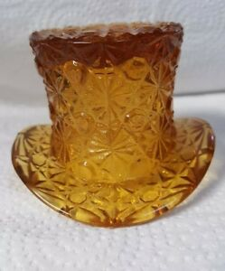 Daisy and Button Design Vintage Fenton Amber Glass Top Hat