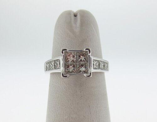 Estate Princess Cut Diamonds (1.25TCW-VS) Solid 14K White gold Ring FREE Sizing