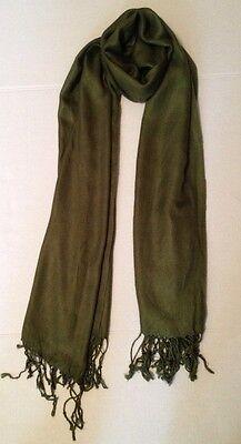 Pashmina Dark Olive Green Classic Soft Silk Shawl Wrap Scarf Solid Fringe Muffle