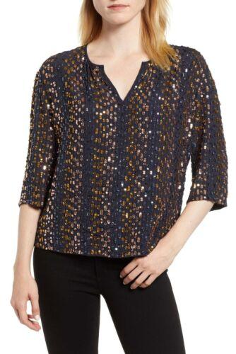VELVET By Graham /& Spencer Prima Sequin Boxy Sleeve Blouse Top Black S $269 B8