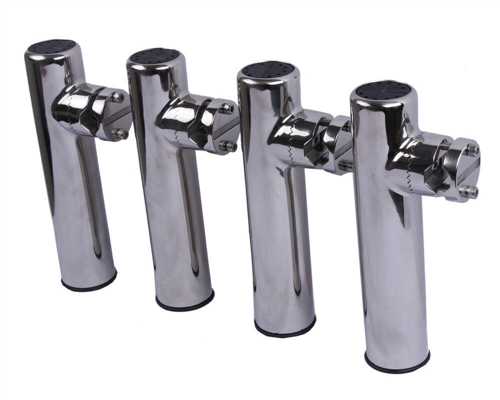 4PCS Boat 316 Stainless Steel Casting Fishing Rod Holder Clamp on 7 8''-1  Rail
