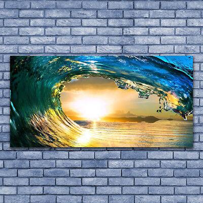 Leinwand-Bilder Wandbild Leinwandbild 140x70 Welle Meer Sonnenuntergang