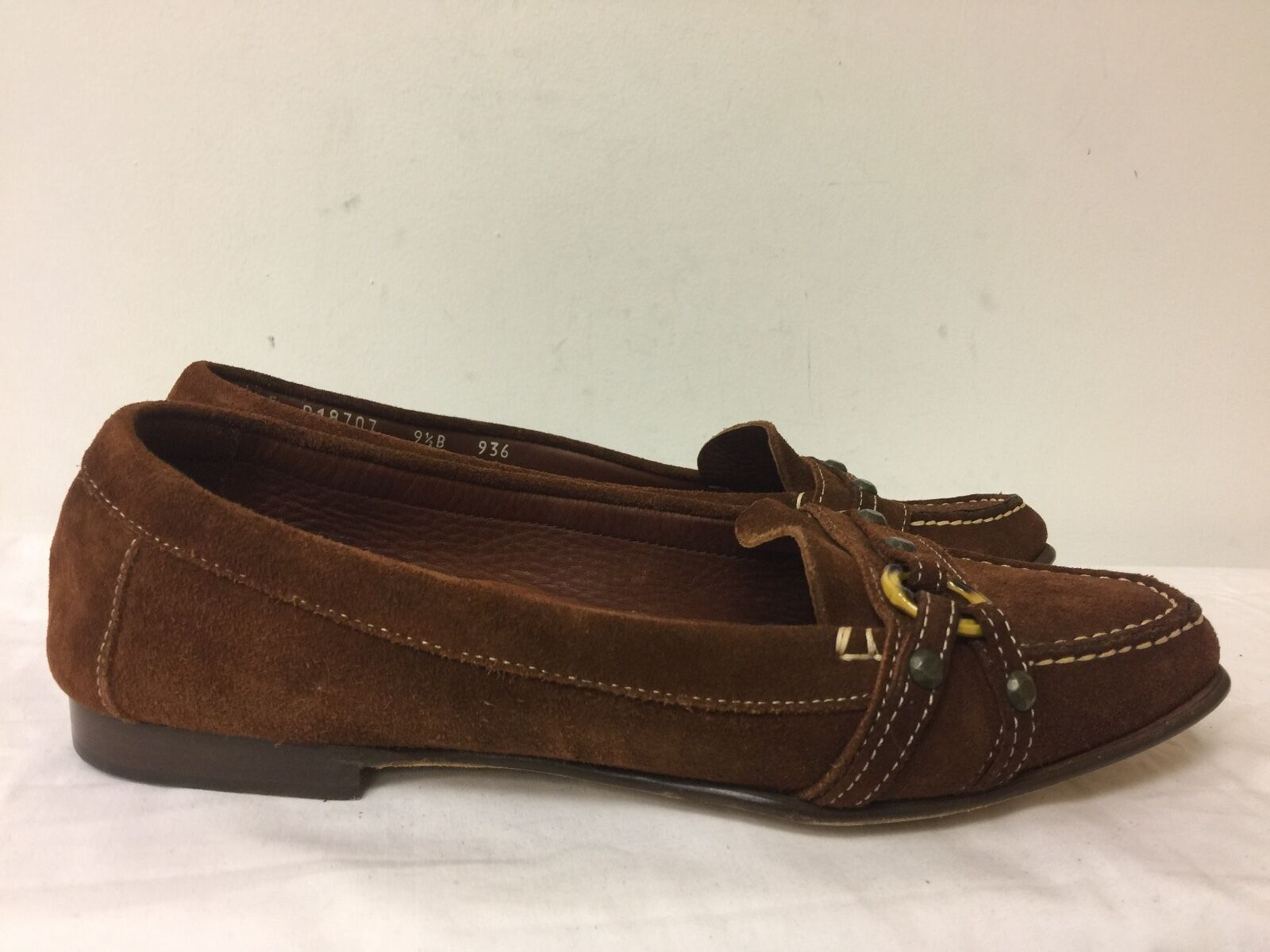 COLE HAAN  Donna LEATHER SUEDE BROWN 9.5B MOCCASINS  SHOES SIZE 9.5B BROWN b95beb