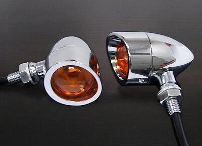 Chrome Metal Mini Bullet Turn Signal for Harley Softail Sportster Chopper Bobber