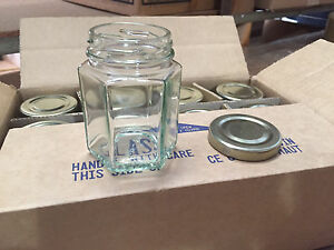 Lot-of-48-Hexagon-Hex-Glass-Jars-for-CANDLES-Jelly-Jam-3-7-oz-With-Gold-Lids