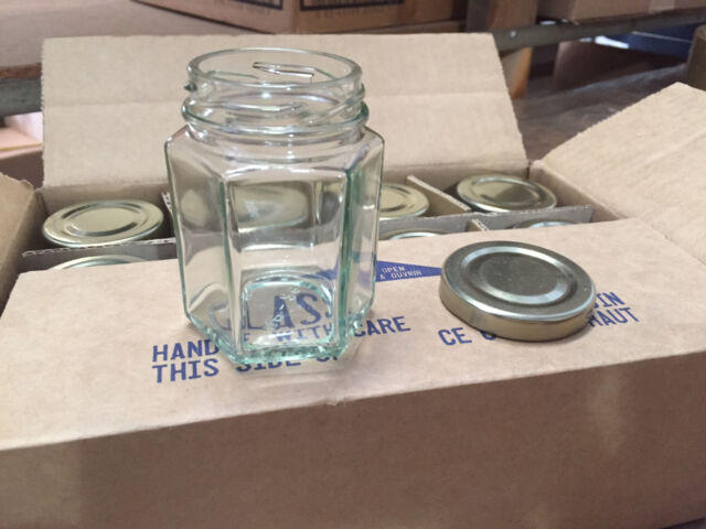 Lot of 48 Hexagon (Hex) Glass Jars for CANDLES Jelly Jam 3.7 oz (With Gold Lids)
