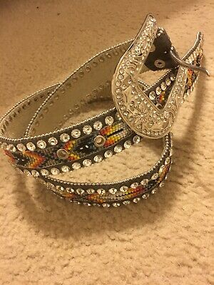 Nocona Western Womens Belt Leather Ribbon Inlay Multi Color N3413297