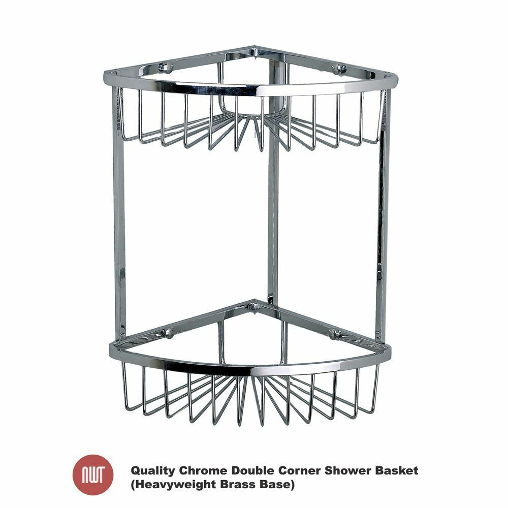 200mm(w) x320mm(h) Quality Chrome Double Corner Bathroom Shower Basket Tidy