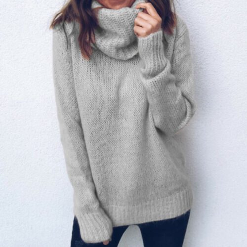 Womens Ladies Turtle Neck Knitted Sweater Oversized Winter Warm Jumper Pullover