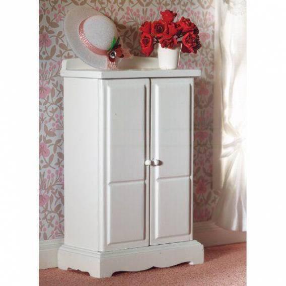 Small White Wardrobe, Bedroom Nursery Miniature Furniture 1.12th Scale