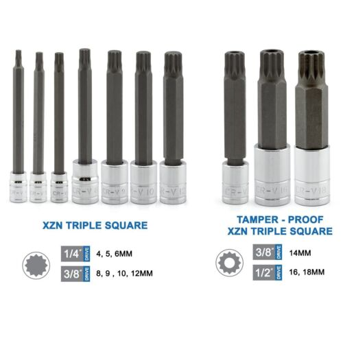 10PC XZN 12 point mm Triple Place Spline Bit Socket Set Inviolable Long Reach