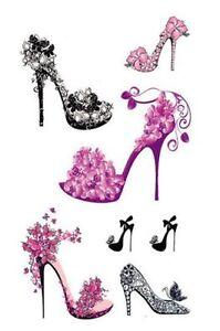 Pequeña tablero 10,5x6cm de tatuajes temporales zapatos de tacón girly talones