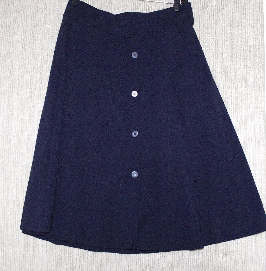 KOCCA New York Navy Blau Viscose Nylon A-line Pockets Knee-length Rock Größe M