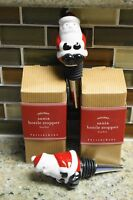 Pottery Barn Christmas Holiday Santa Stopper Wine Bottle Stoppers - Set Of 2
