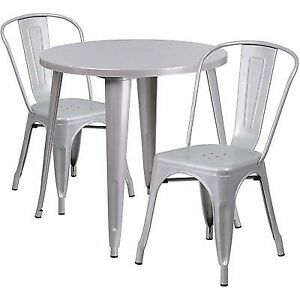 Flash Furniture Round Metal Indooroutdoor Table Set W Cafe - Round metal cafe table