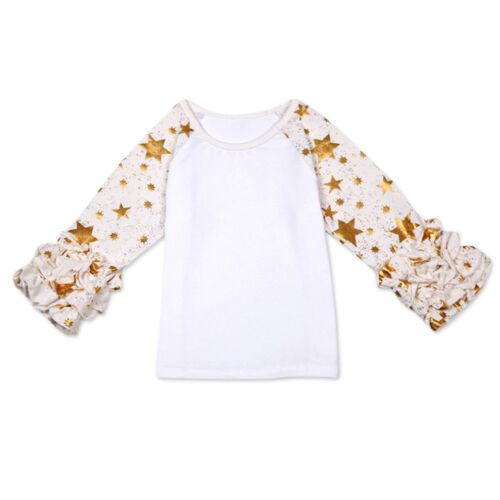 Baby Girls Toddler T Shirts Icing Ruffle Shirt Tops Raglan Stars Blouse Clothes