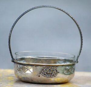Servierschale Jugendstil Mit Glasschale Überkopfbügel Silbern Anrichteschale Kristall