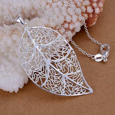 Fashion women Silver Charm Leaf Cute Beautiful pretty Necklace jewelry