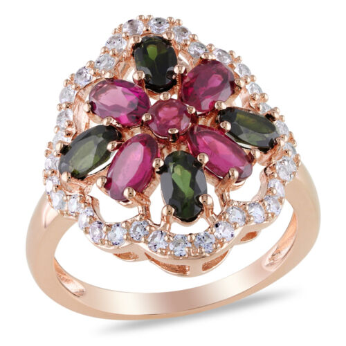 3.69CTW Women/'s Unique Ruby Emerald White Sapphire 925 Silver 14K Rose Gold Ring