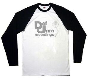 La foto se está cargando Def-Jam-Records-Beisbol-Camiseta-Mangas-Largas-Top 89bd259f71117