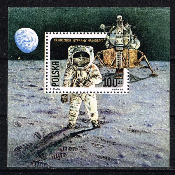 100% De Qualité La Pologne Spatiale Américaine Moon Explorer Apollo 11 1989 Souvenir Sheet Comme Neuf Jamais à Charnière