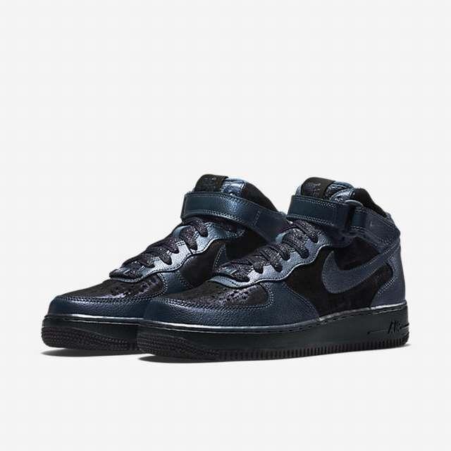 W Nike Air Force 1'07 Mid Prm Femmes Hi Top 805292 900 Bleu/Noir NEUF T. 38