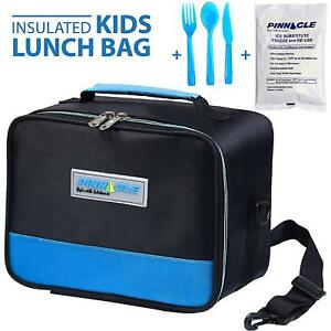 Details About Insulated Reusable Lunch Bag For Kids With Gel Ice Pack And Matching Cutlery