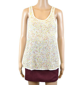 fe642559c02c2 PROMOD SLEEVELESS SPARKLE SEQUIN LIGHT CREAM WHITE TOP SIZE S M L XL ...