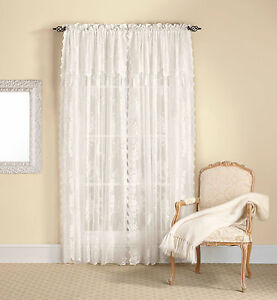 Lace Curtain Panel With Attached Valance Amp Tassels