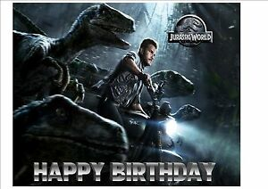 Image Is Loading Jurassic World Park Dinosaurs Personalised Birthday Cake Topper