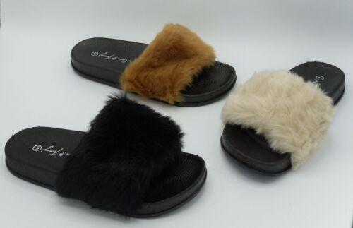 New Women's Comfort Faux Fur Platform Slide Sandal