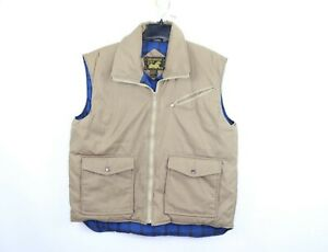 Vtg-80s-Streetwear-Mens-Large-Full-Zip-Blanket-Lined-Outdoor-Puffer-Vest-Khaki