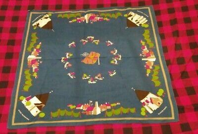 Antique Danish Tablecloth Hand Embroidered Linen-Bluework-Denmark Verse