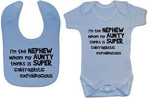 8c73ec7afc Nephew Aunty Baby Grow Bodysuit Romper T-Shirt   Feeding Bib 0-24m ...