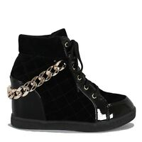 Black Lace Up Quilted Sneaker Wedge Gold Chain Platform Women's Shoes Alison