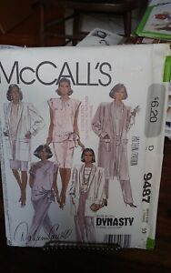 Vtg-Dynasty-Mccalls-9487-misses-duster-coat-sash-top-pants-skirt-sz-10-NEW