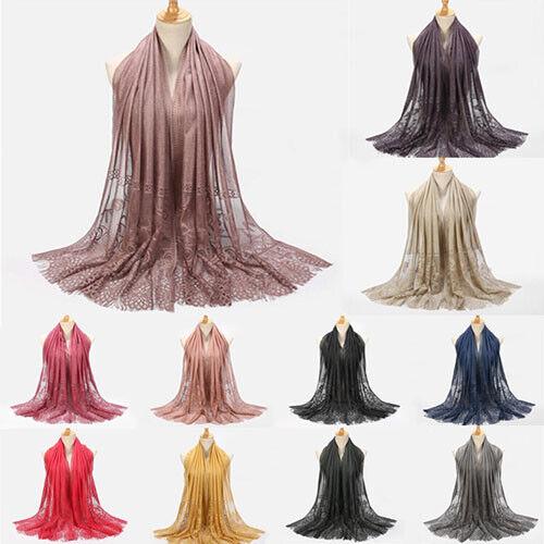 Moda para Mujeres Bufanda Bufandas Hijab chales cabeza de flor de musulmanes envuelve mezcla de encaje