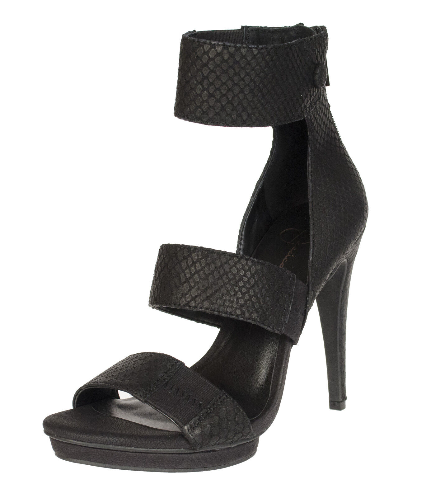 JESSICA SIMPSON SIMPSON SIMPSON FRANSI EMBOSSED schwarz THREE PIECES PLATFORM SANDAL MULTIGröße AS 20256f