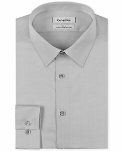 175-Calvin-Klein-hommes-coupe-slim-gris-a-manches-longues-bouton-CK-Robe-Chemise-15-5-32-33