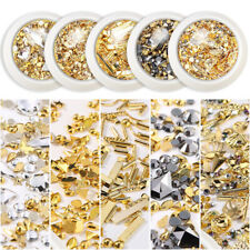 Mix Moon Star Gold Metal Nail Art Studs 3D Rhinestones Decals Tips Decoration