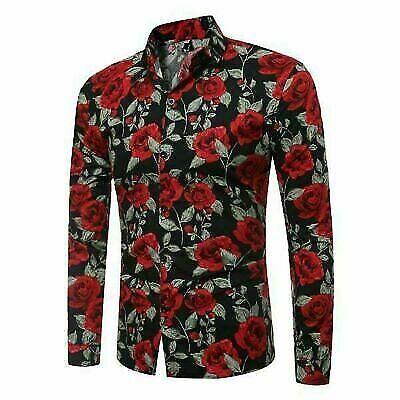Floral dress shirt tops long sleeve casual luxury men/'s slim fit formal t-shirt
