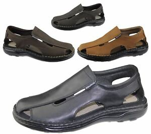 Mens-Slip-On-Sandals-Casual-Beach-Fashion-Casual-Walking-Leather-Wide-Fit-Shoes