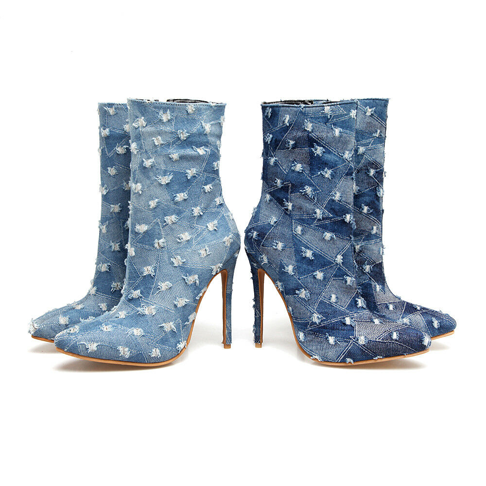 New Womens Party shoes Ripped Denim High Heels Pumps Ankle Boots Fashion