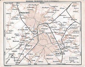 59-Tourcoing-Roubaix-1907-pt-plans-ville-orig-guide-5-p-Wattrelos-Mouvaux