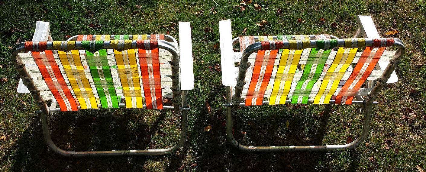 2 mid-century Orange Gelb Grün Grün Grün Weiß webbed low lawn chairs and extra webbing 068aa0