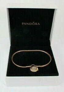 Details about PANDORA MOMENTS PAVE PADLOCK CLASP ROSE SNAKE BRACELET W/ BOX  587757CZ FS!