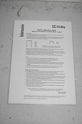 Dolby Model 737 Soundtrack Loudness Meter Quick Calibration Information Sheet Fast Color Cameras & Photo